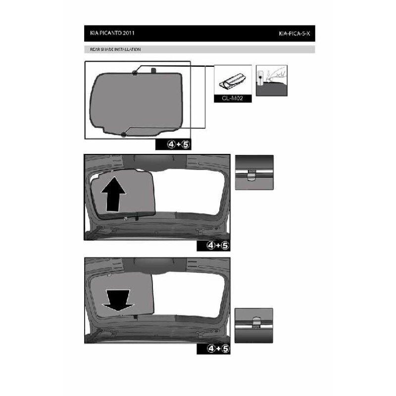 sonnenschutz kia picanto 5 t rer bj ab 2011 4 teilig 89. Black Bedroom Furniture Sets. Home Design Ideas