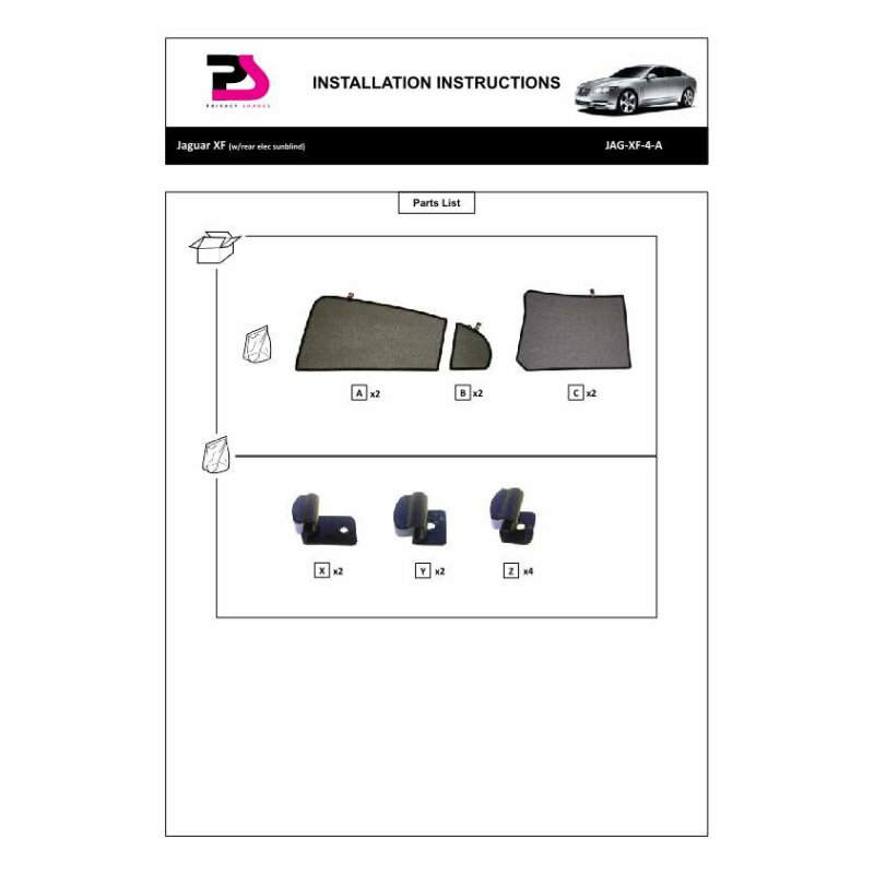 sonnenschutz jaguar xf mit electric blind 4 t rer bj 08. Black Bedroom Furniture Sets. Home Design Ideas